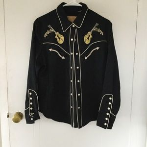 Embroidered retro Western shirt